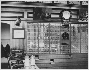 Interior of Post office, Fargo, N.D., Downtown, 1876