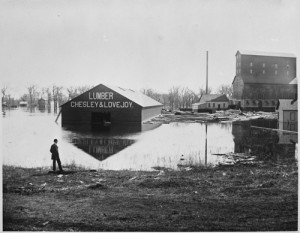 Chesley & Lovejoy Lumberyard at highwater, Fargo, N.D., Downtown, 1881