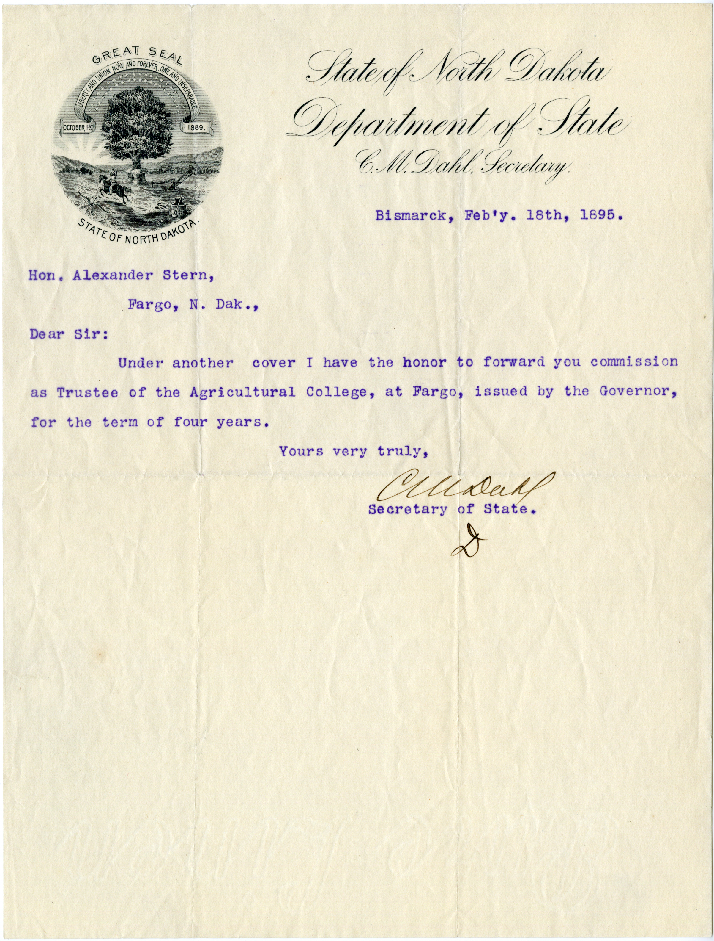 fargo history project letter serving notice of stern s heather brinkman