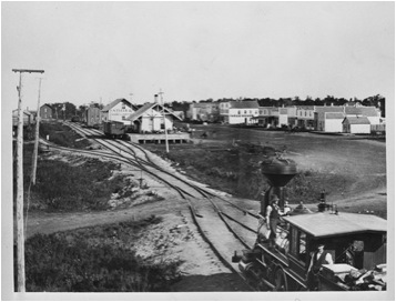 A train approaching Fargo, North Dakota in the early 1880s. (North Dakota Institute of Regional Studies)