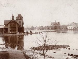 Street blocks floating in flood of 1897.
